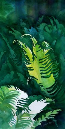 """Sword Fern Forest Whaletown Commons"" watercolor, by Dianne Bersea,Canadian west coast artist Pen And Watercolor, Watercolor Paintings, Landscape Art, Landscape Paintings, Sword Fern, Fern Forest, Magic Treehouse, Mermaid Coloring, Asdf"