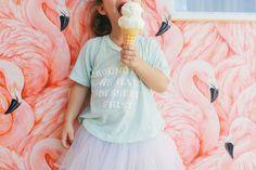 "Pink flamingo wallpaper, wild fox tee, ""Around here, we eat dessert first"" Design by Jessica de Velasco / Photography by Amanda Julca"