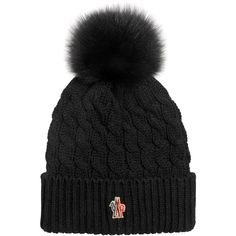 Moncler Grenoble Women Wool Cable Knit Hat W/ Fox Fur Pom Pom ($245) ❤ liked on Polyvore featuring accessories, hats, black, wool cable knit hat, moncler grenoble, fox fur pom pom hat, pompom hat and cable hat