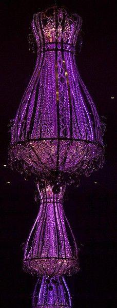 LED purple chandelier