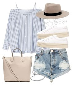 """""""Outfit for summer with denim shorts"""" by ferned on Polyvore featuring OneTeaspoon, MANGO, Yves Saint Laurent, Forever 21, Witchery and Monica Vinader"""