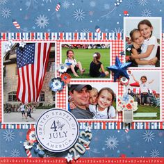 #papercraft #Scrapbook #layout. Red, white and blue scrapbook layout created by @reneezwirek for @PebblesInc using #Americana #patriotic #FourthofJuly