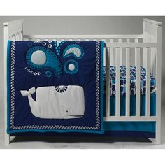 Jonathon Adler Happy Chic Baby Party Whale 4 Piece Crib Bedding Set - 6595634