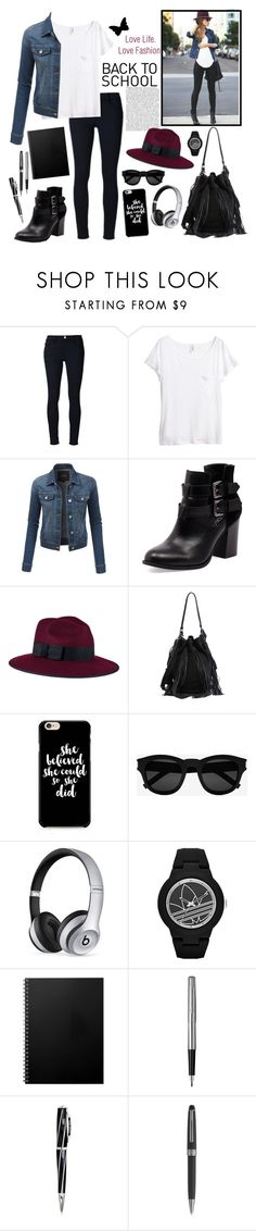 """Back to school outfit"" by whims-and-craze ❤ liked on Polyvore featuring Frame, H&M, LE3NO, Bonbons, Christys', Loeffler Randall, Yves Saint Laurent, Beats by Dr. Dre, adidas and Parker"