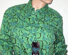 Wrangler ~ Rock 47 ~ Women's Cowgirl Western Green Blue Print Long Sleeve Shirt ~ New