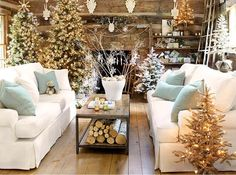 half a dozen trees around the room, unique decor.  (50 Christmas decorating ideas to create a stylish home)