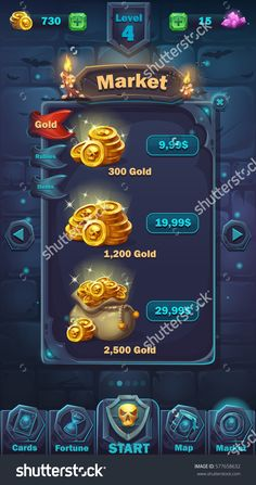 Monster battle GUI market window - vector cartoon illustration game user interface - background horrible Halloween wall with coins in bag