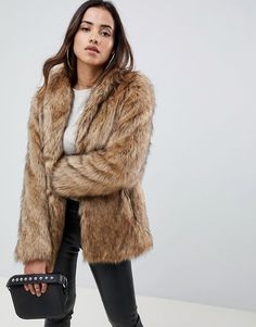 d00c9a9abe2 ASOS DESIGN stand collar faux fur coat.  fauxfur  coat  winterfashion   winteroutfits