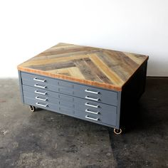 Vintage industrial flat file coffee table cabinet files filing map repurposed coffee table reclaimed wood herringbone vintage flat file cabinet industrial loft storage malvernweather Choice Image