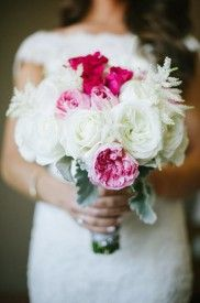 White, pink and red wedding bouquet.