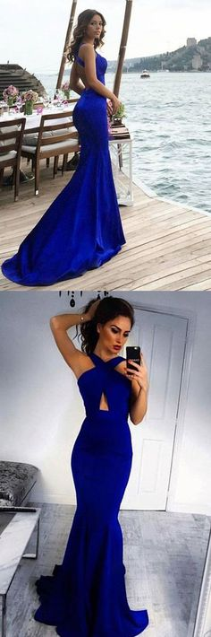 modest royal blue cross neck mermaid prom dresses, elegant criss cross straps evening gowns, simple cut out party dresses P2640