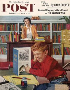 """1956 Saturday Evening Post - """"Frog in the Library"""" - Dick Sargent Art - #RetroReveries"""