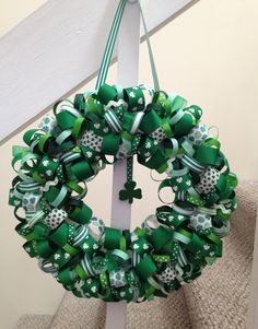 St Patrick's Day wreath made from ribbon