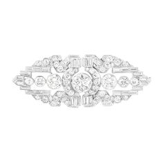 Platinum and Diamond Double-Clip Brooch  The openwork brooch of geometric design centering one old European-cut diamond approximately 1.25 cts., flanked by 6 old European-cut diamonds approximately 2.00 cts., set throughout with 42 round and single-cut, 32 baguette and 2 square-cut diamonds approximately 3.25 cts., circa 1930, approximately 14 dwts.