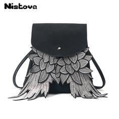 fondhere Women Backpack Wing Design School Bag for Girls Black Grey Bag  Angel Wings Backpack Fashion Shoulder Bag 8dfcf49f12748