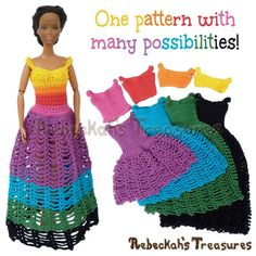 8 in 1 Brassieres to Dresses for Fashion Dolls   FREE crochet pattern via @beckastreasures   One crochet pattern, a rainbow of possibilities! #barbie #crochet