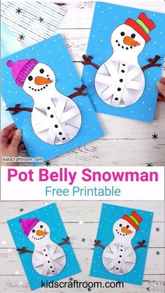 Pot Belly Snowman Craft - These Paper Snowman Crafts for kids to make are so cute. Who could resist their round pot bellie - : Pot Belly Snowman Craft - These Paper Snowman Crafts for kids to make are so cute. Who could resist their round pot bellie - Easy Halloween Crafts, Christmas Crafts For Kids, Holiday Crafts, Winter Crafts For Kids, Crafts For Kids To Make, Craft Kids, Kids Crafts, Preschool Winter, Toddler Crafts