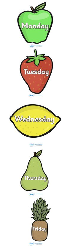 Twinkl Resources >> Days of The Week on Fruit  >> Classroom printables for Pre-School, Kindergarten, Elementary School and beyond! #resourcecategory#