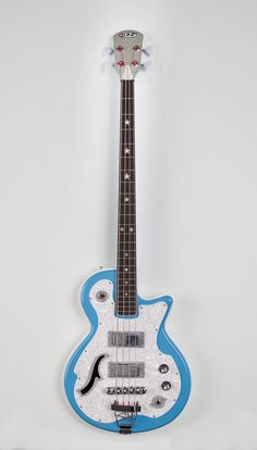 Belvedere Deluxe bass, sonic blue with white back