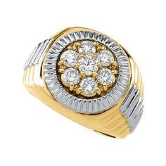 Beautiful! Rolex-style 14k High Polish Yellow-gold White-gold Men's 11/2 CT TW Diamond Ring-- 36% DISCOUNT for a limited time