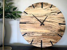 Mid Century Modern Hardwood Spalted Maple Wall Clock with Black Number Lines Handmade Clocks, Spalted Maple, Kiln Dried Wood, Types Of Wood, Mid-century Modern, Hardwood, Mid Century, Free Shipping, Wall