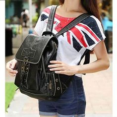 Soild PU Leather Women's Backpack For Girl Ladies Teenagers school Travel bags Schoolbag Bagpack