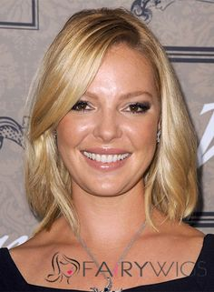 Katherine Heigl Hairstyle Short Wavy Lace Front Human Hair Bob Wigs