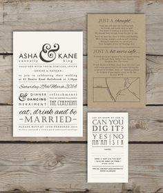 Modern Type. Customized printable wedding invitation.