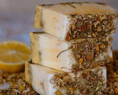 Lemon Chamomile  HandCrafted Soap Tea Flowers by TallulahsSoaps, $6.50