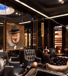 The Wellesley London's private cigar room features a portrait of noted stogie-lover Winston Churchill.