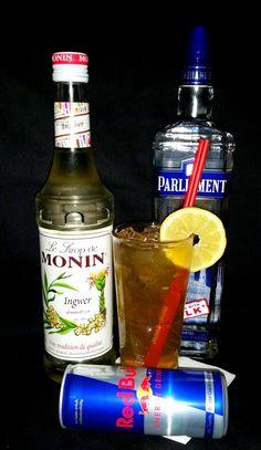 Flying Ginger Parliament Vodka, Red Bull, Lime Juice, Ginger Sirup.