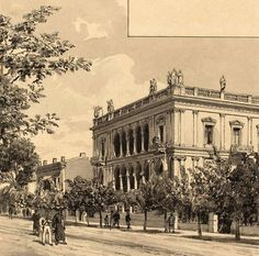 1890 - Panepistimiou street in Athens (sketch) Greece Pictures, Old Pictures, Old Photos, Vintage Photos, Attica Athens, Athens Greece, Greece History, Old City, Beautiful Places