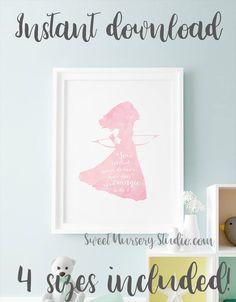 Brave Merida, Brave, Merida, Merida wall decor, pastel pink