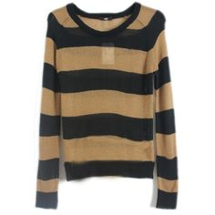 Black Coffee Striped Long Sleeve Pullovers Sweater ($27) ❤ liked on Polyvore