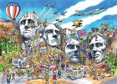 1000pc DoodleTown: Mount Rushmore jigsaw puzzle   Cobble Hill Puzzle Co