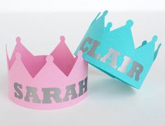 Princess Crown Place Card/ Party Props Personalized Set of 12... For the kids.