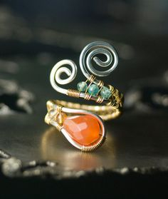Gemstone Sterling Silver and Gold Copper Wirework Ring - Limited Edition Red Agate Drop with Light Blue Apatite