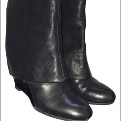 French Connection foldover booties French Connection foldover booties.  Wedge Heel.  Black leather.  In excellent condition. Comes with original receipt, box and dust bag. French Connection Shoes Ankle Boots & Booties