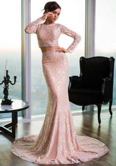 Be elegant in this Jovani 26335 two-piece prom dress. This lace ensemble features a lace crop top with a cutout back, jewel neckline and long sleeves. Girls Formal Dresses, Dressy Dresses, Dresses For Teens, Nice Dresses, Two Piece Gown, Classic Wedding Gowns, Prom Dresses Jovani, Designer Prom Dresses, Stunning Dresses