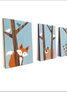This hand painted set of three woodland animals on wood will make the perfect addition to your little ones woodland nursery or forest friends nursery! This set can be customized however youd like. Please feel free to contact me with any questions or requests. Woodland Nursery Art - Set of 3 Each painting measures 8x 12, 1/2 thick on stained oak. The trees are left unpainted, showcasing the natural grain and texture of the wood, complimenting the woodland creatures nursery theme perfectly...