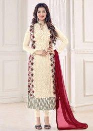Party Wear Cream Georgette Embroidered Work Salwar Kameez