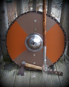 Viking shield,spear and axe.
