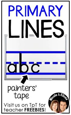 LITERACY TIP from Nicole and Eliceo - Painters tape works great for making primary lines on white boards without leaving a sticky residue. First Grade Activities, Kids Learning Activities, Learning Tools, Kindergarten Handwriting, Kindergarten Literacy, Handwriting Practice, Literacy Centers, Kindergarten Classroom Organization, Classroom Projects