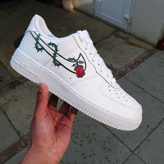 """Custom Sneaker Customization Video By snkrfocus 🌹 """"For you, my muse. Jordan Shoes Girls, Girls Shoes, Shoes Women, Cute Nike Shoes, Nike Custom Shoes, Vans Custom, Custom Sneakers, Custom Painted Shoes, Hand Painted Shoes"""