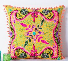 Suzani Cushion Cover (Yellow) Size 40x40cm