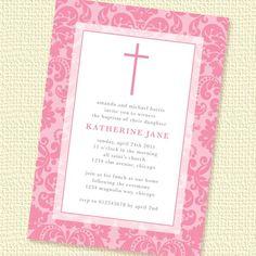 Damask Border Girl Baptism or Christening Invitation Printable Personalized (Digital File)