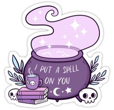 """Witch Cauldron"" Stickers by nikury Halloween Stickers, Halloween Art, Halloween 2020, Witch Drawing, Witches Cauldron, Doodles, Tumblr Stickers, Witch Art, Witch Aesthetic"