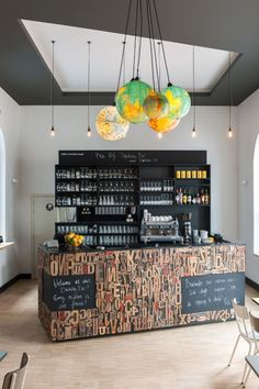 Love the innovative use of letterpress letters and chalkboard on the surface of this hotel bar \\\ Backstay Hostel in Ghent by designers Nele Van Damme & Yannick Baeyens