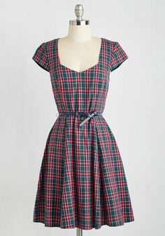 And All That Jazz Fest Dress - Multi, Red, Green, Plaid, Belted, Work, Holiday, Scholastic/Collegiate, A-line, Cap Sleeves, Woven, Good