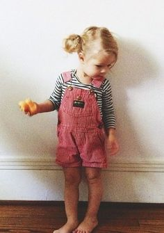 Overalls and stripes.
